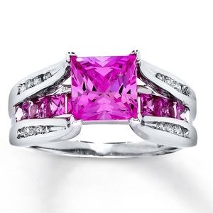 Lab Created Pink Sapphire 10K White Gold Ring