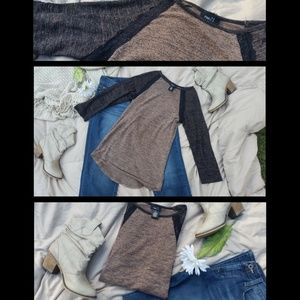 Tan and Dark Brown Melange Baseball Tee XS