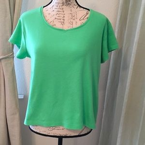 Coldwater Creek - Green Cotton  V Neck Top