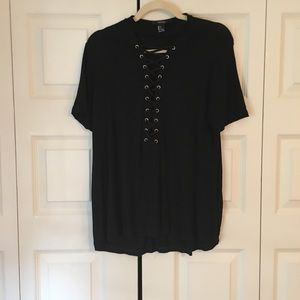 Black lace up shirt with choker