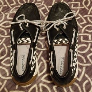 Black houndstooth Sperrys