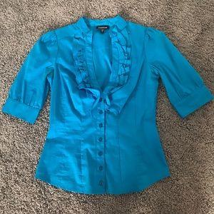 Bebe Blue Ruffle Collar Shirt