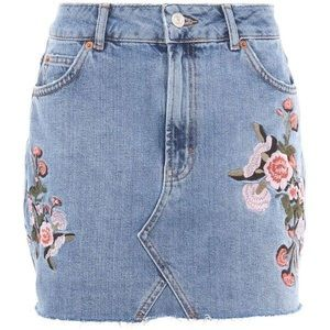 USA Size 6 Topshop Moto Floral Embroidered Skirt