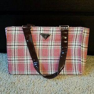 NWOT Modella pink plaid laptop handbag.
