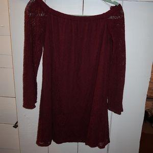 Burgundy Lace Off the Shoulder Dress