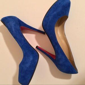 Christian LOUBOUTIN Suede pump heel Blue delic 38