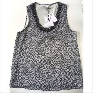 DVF Beaded Tank Silk snake print NWT - Small