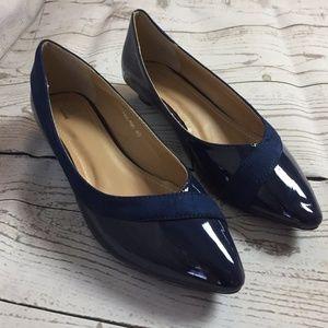 Shoes - Blue Shiny Casual Flats Women's 8.5 NEW
