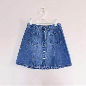 Denim button down high waist mini skirt