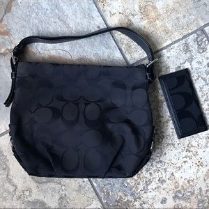 Black COACH Purse With Matching Checkbook Wallet