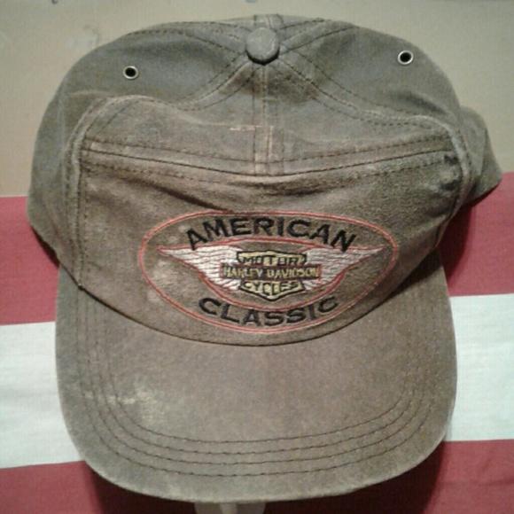 100% LEATHER Harley Davidson Motorcycle Hat Cap 94b7e0f9fecc