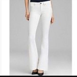 CAbi white denim wide leg jeans