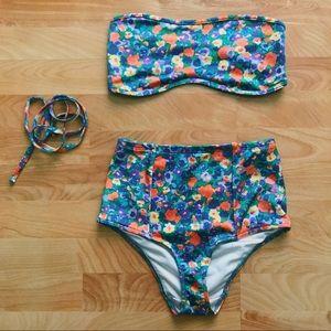 floral print high waisted bikini