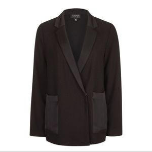 NWT Topshop Satin Pocket Blazer - Black