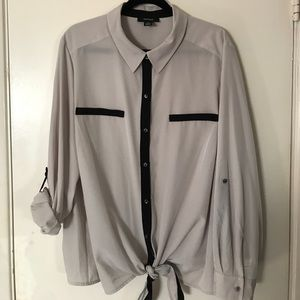 Style & Co Tied Button Up Collared Shirt sz 3x
