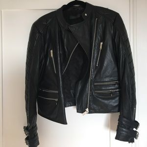 Zara premium quilted black leather jacket L!!!