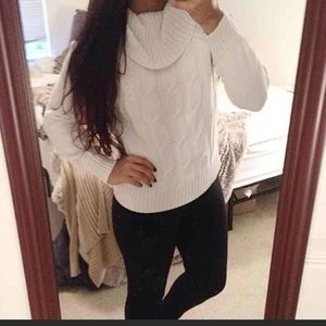White cowl neck cable knit sweater