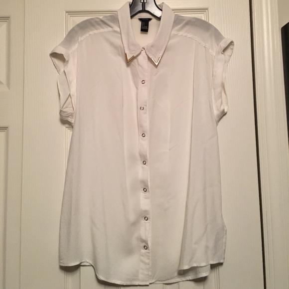 Forever 21 Tops White Button Shirt Blouse Gold Collar Poshmark