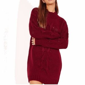 Burgundy & navy chunky cable knit sweater dress