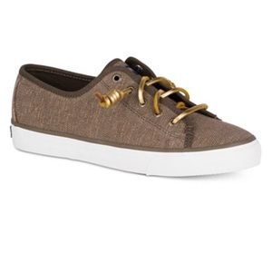 Women's Sperry brown sneaker gold laces size 7