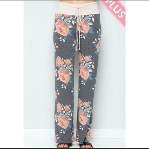 Pants - Floral drawstring pants.