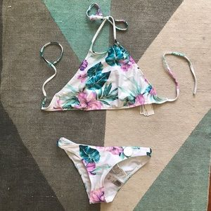 Forever 21 purple floral high neck bikini NWT