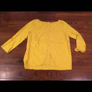 J Crew sunshine yellow eyelet knit