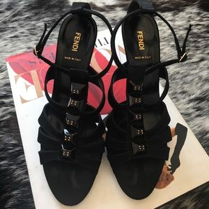 Auth FENDI Studded Satin Sandals Shoes Sandals