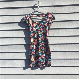 Floral Body Con Cut Out Dress