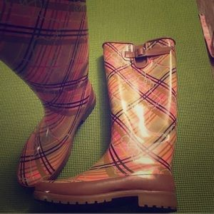 Pink Plaid Rain Boots Sperry Size 9