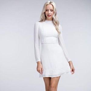 Long sleeve delicate mock neck lace girly dress