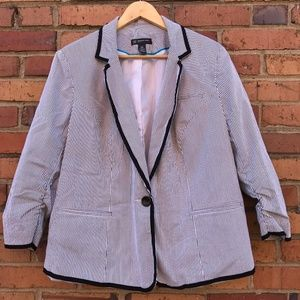 INC Pinstripe Blazer with Ruched 3/4 Length Sleeve