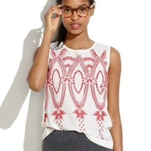 Madewell Red Embroidered Tank