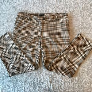 🌺H&M brown plaid pants cropped ankle trousers🌺