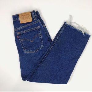 VTG LEVIS 512 Dark Wash Jeans Raw Hem 29 x 26