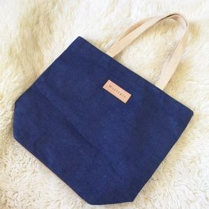Wisteria Large Jute Shopping Tote Navy Blue & Tan