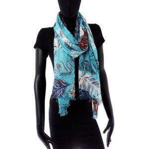 Kate Spade Regal Plumes Scarf - Blue Feather Print