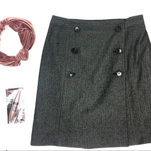 Club Monaco Wool Button Overlap Herringbone Skirt