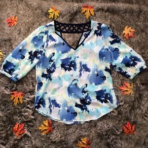 IZ Byer Lattice Back Floral Blouse