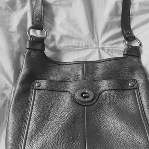 Coach leather silver cross body bag