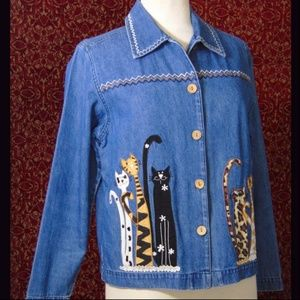BRECKENRIDGE med blue cotton denim cat jacket S