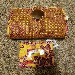 Vera bradley bali clutch and wallet set.