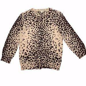 J Crew Cardigan Sweater Cheetah Leopard Print