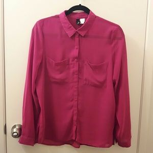 H&M Divided Button Down Shirt. Color: Magenta