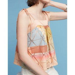 Anthropologie pastel geo tie shoulder cami top