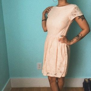 H&M Peach Lace Dress With Pockets
