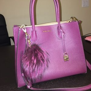 MK Large Mercer Tote in Plum w/ matching PomPom.