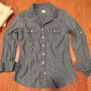 J. Crew Factory Two-Pocket Chambray Shirt, SM, EUC