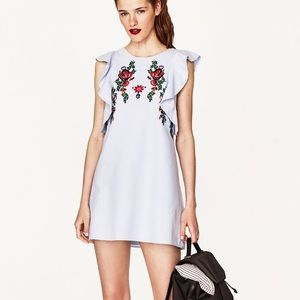 Zara embroidered dress with frill sleeve