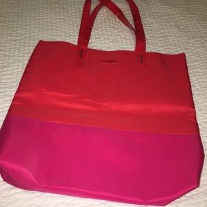 Lancome red/pink color block tote
